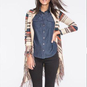 Full tilt S multicolor fringe cardigan sweater